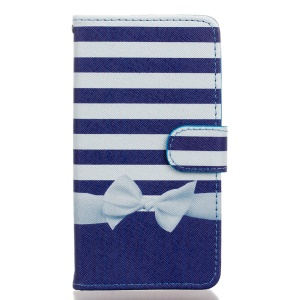 Leather Stand Phone Case for Wiko Rainbow Jam 4G - Stripes and Bowknot