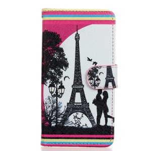 Leather Stand Phone Case for Wiko Rainbow Jam 4G - Lover and Eiffel Tower