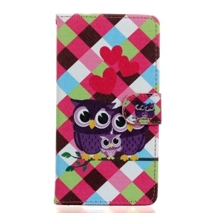 Pattern Printing Leather Wallet Case for Wiko Fever 4G - Sweet Owl Family