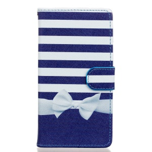 Pattern Printing PU Leather Protective Case for Wiko Fever 4G - Stripes and Bowknot