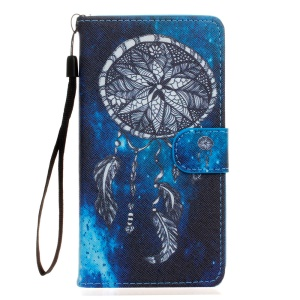 Wallet Leather Stand Shell for Wiko Fever 4G with Strap - Dream Catcher
