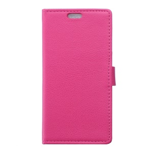 Lychee Skin PU Leather Wallet Case for Wiko Tommy - Rose