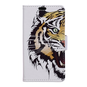 Leather Card Holder Stand Case for Wiko Tommy - Furious Tiger