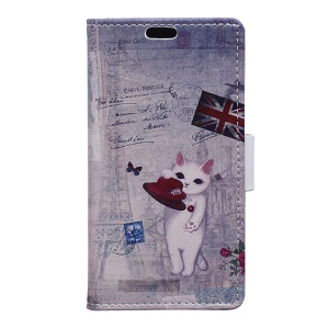 Leather Card Holder Stand Case for Wiko Tommy - Cat Playing with Hat