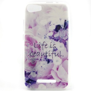 Soft TPU Cover Case for Wiko Lenny2 - Flowers and Quote