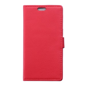 Litchi Skin Wallet Stand Leather Shell for Wiko Sunny - Red