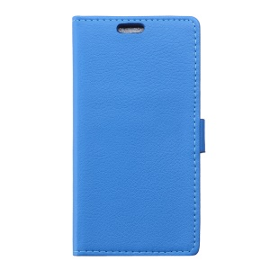 Litchi Skin Wallet Stand Leather Phone Cover for Wiko Sunny - Blue