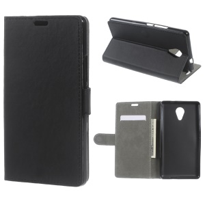 PU Leather Wallet Stand Flip Case for Wiko S-kool / Robby - Black