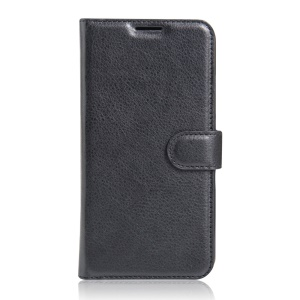 Lychee Skin Leather Wallet Case for Wiko Tommy - Black
