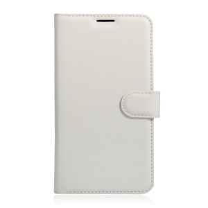 Lychee Skin Leather Wallet Cover for Wiko Tommy - White
