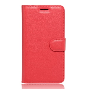 Lychee Skin Leather Wallet Case Cover for Wiko Tommy - Red