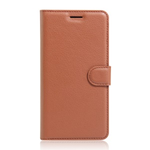 Lychee Skin Leather Stand Case for Wiko U Feel Lite - Brown