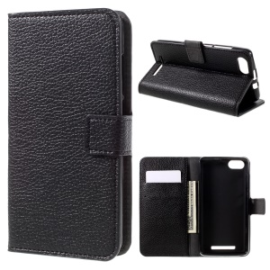 Litchi Texture Leather Wallet Stand Case for Wiko Lenny 3 - Black