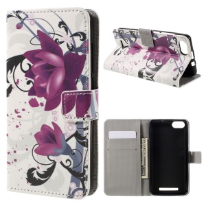 Patterned Card Holder Leather Case for Wiko Lenny 3 - Kapok Flowers