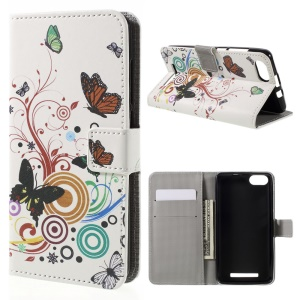 Patterned PU Leather Case with Stand for Wiko Lenny 3 - Butterflies and Circles