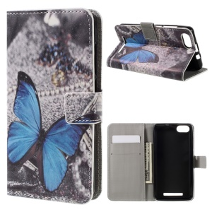 Pattern Printing Faux Leather Flip Cover for Wiko Lenny 3 - Blue Butterfly