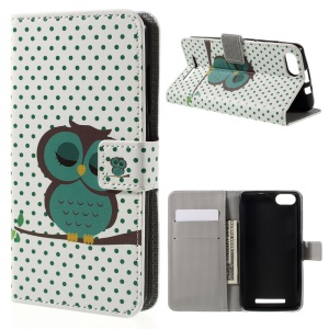 Pattern Printing Leather Cover Protector for Wiko Lenny 3 - Green Napping Owl