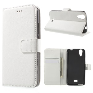 Litchi Skin Leather Wallet Cover for Wiko Rainbow Jam 4G - White