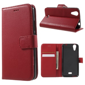 Litchi Skin Leather Card Holder Case for Wiko Rainbow Jam 4G - Red