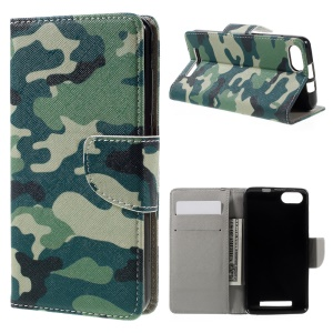 Leather Wallet Stand Phone Case for Wiko Lenny 3 - Camouflage Pattern