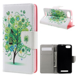 Leather Card Holder Stand Case for Wiko Lenny 3 - Tree in Spring