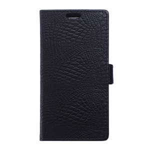 Crocodile Leather Case Flip Wallet Cover for Wiko Sunny - Black