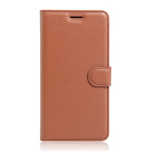 Litchi Skin Wallet Leather Stand Case for Wiko U Feel - Brown