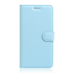 Lychee Skin Leather Stand Cover with Card Slots for Wiko Fever Special Edition - Baby Blue