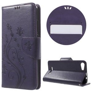 Butterfly Floral Leather Wallet Cover for Wiko Lenny2 - Purple