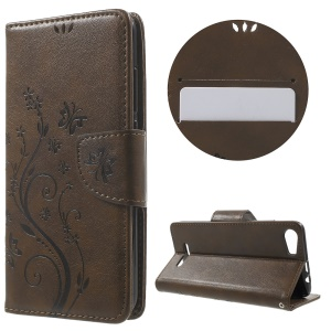 Butterfly Floral Leather Wallet Flip Case for Wiko Lenny2 - Coffee