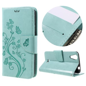 Imprinted Butterfly Flower Wallet Leather Stand Case for Wiko Rainbow Jam 4G - Cyan