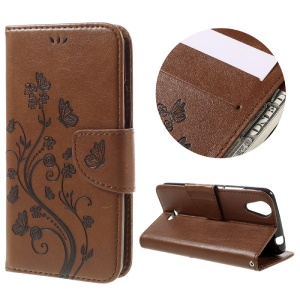 Imprinted Butterfly Flower Wallet Leather Shell Case for Wiko Rainbow Jam 4G - Brown