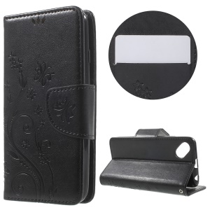 Butterfly Floral Leather Stand Case for Wiko Sunset2 - Black