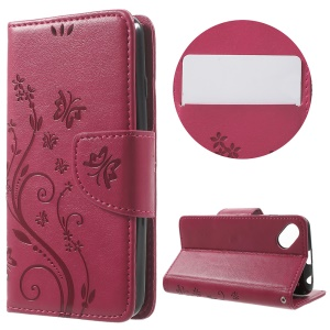 Butterfly Floral Leather Wallet Case for Wiko Sunset2 - Rose