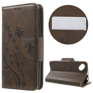 Butterfly Floral Leather Stand Case Cover for Wiko Sunset2 - Coffee