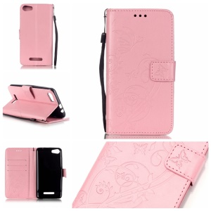 Imprint Butterfly Floral Leather Stand Case for Wiko Lenny2 - Pink
