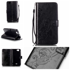 Floral Butterfly Wallet Stand Leather Case for Wiko Rainbow 4G - Black