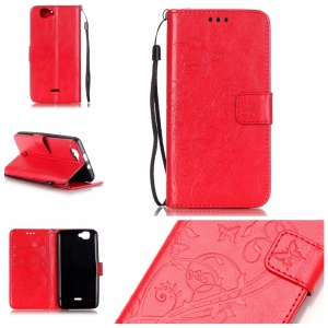 Floral Butterfly Wallet Leather Flip Shell for Wiko Rainbow 4G - Red
