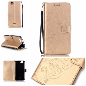 Floral Butterfly Folio Leather Protective Shell for Wiko Rainbow 4G - Gold