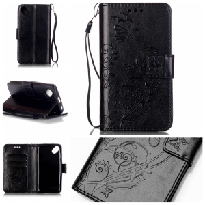 Imprint Butterfly Flowers Leather Wallet Case for Wiko Sunset2 - Black