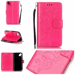Imprint Butterfly Flowers Leather Wallet Cover Case for Wiko Sunset2 - Rose