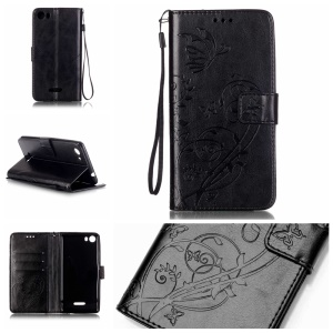 Imprint Butterfly Flowers Leather Wallet Case for Wiko Fever 4G - Black