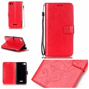 Imprint Butterfly Flowers Magnetic Leather Wallet Case for Wiko Fever 4G - Red