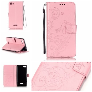 Imprint Butterfly Flowers Magnetic Leather Stand Case for Wiko Fever 4G - Pink
