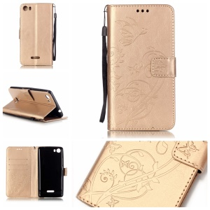 Imprint Butterfly Flowers Magnetic Leather Stand Cover for Wiko Fever 4G - Gold