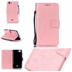 Imprint Butterfly Flowers Leather Card Holder Case for Wiko Pulp 4G - Pink