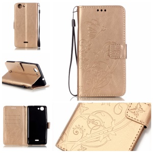 Imprint Butterfly Flowers Phone Leather Wallet Case for Wiko Pulp 4G - Gold