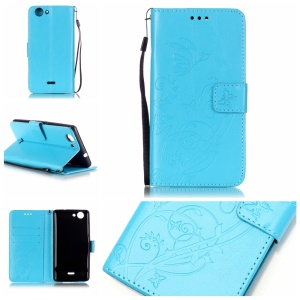 Imprint Butterfly Flowers Leather Case with Card Slots for Wiko Pulp 4G - Blue