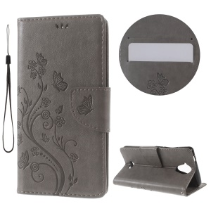 Imprint Butterfly Flower Wallet Leather Cover for Wiko U Feel Lite - Grey