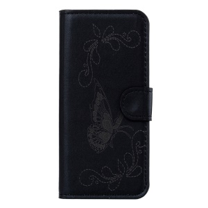 Laser Carving Butterfly Leather Wallet Stand Case for Wiko Lenny 3 - Black
